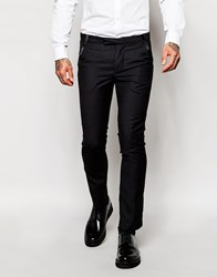 Rogues Of London Tuxedo Suit Trousers In Slim Fit Black