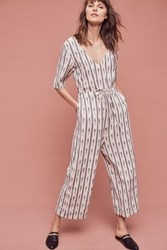 Anthropologie Catrinna Ikat Jumpsuit Black And White