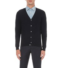Slowear V Neck Jacquard Wool Blend Cardigan Navy
