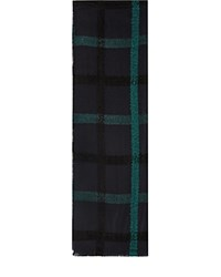 Reiss Elise Check Scarf Navy Teal