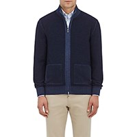 Fioroni Men's Cashmere Wool Reversible Zip Front Sweater Blue