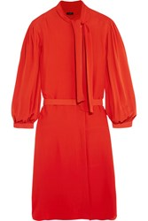 Joseph Billy Pussy Bow Silk Georgette Dress Tomato Red