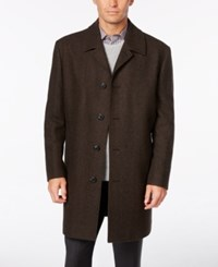 London Fog Coventry Wool Blend Overcoat Brown Mult