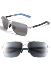 Maui Jim 'Mauiflex Freight Trains' Polarizedplus 62Mm Sunglasses Silver Blue