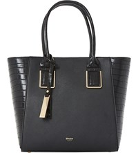 Dune Damazing Faux Leather Winged Shopper Bag Black Plain Synthetic