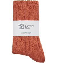 Johnstons Cable Knit Cashmere Socks Sash