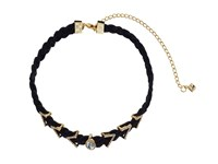 Rebecca Minkoff Arrows And Stone Charms On Braided Leather Choker Necklace Gold Crystal Necklace