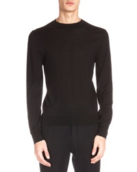 Berluti Leather Shoulder Detail Crewneck Sweater Black