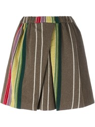 N 21 No21 Striped Mini Skirt Green