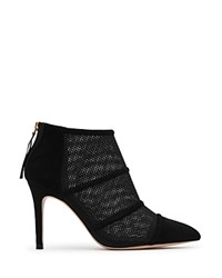 Reiss Devon Mesh And Suede Pointed Toe High Heel Booties Black