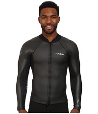 Xcel Wetsuits 2 1Mm Axis Smoothskin Front Zip L S Top All Black W Silver Ash Logos Men's Swimwear