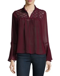 On The Road Ophelia Lace Yoke Sheer Blouse Burgundy