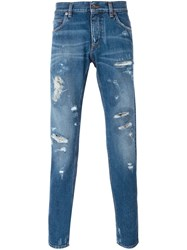 Dolce And Gabbana Slim Distressed Jeans Blue