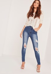 Missguided High Waisted Ripped Skinny Jeans Blue Blue