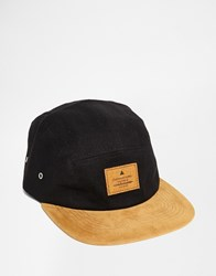 Asos 5 Panel Cap In Black Canvas With Tan Faux Suede Peak Black