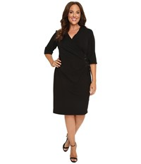 Christin Michaels Plus Size Jullie 3 4 Sleeve Wrap Dress Black Women's Dress