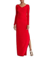 Ralph Lauren Mesh Inset Gown Parlor Red
