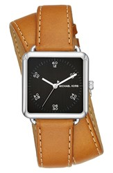 Michael Michael Kors Women's 'Brenner' Square Leather Strap Watch 31Mm Brown Black