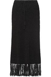 Zeus Dione Anemone Fringed Cotton Blend Maxi Skirt Black