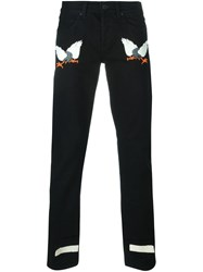 Off White Embroidered Eagle Jeans Black
