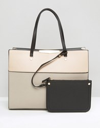 New Look Two Tone Shopper Bag Oatmeal Beige