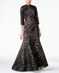 B Michael Lace Mermaid Halter Gown And Bolero Black