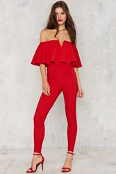 Nasty Gal Ruffle Around The Edges Off The Shoulder Jumpsuit