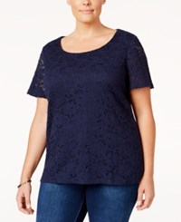 Charter Club Plus Size Lace Top Only At Macy's Intrepid Blue
