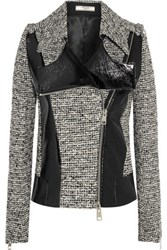 Bouchra Jarrar Wool Blend Tweed And Faux Patent Leather Jacket Black