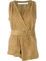 Drome Belted Wrap Waistcoat Nude And Neutrals