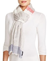 Fraas Striped Scarf Red Gray Blue