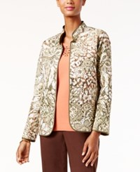 Alfred Dunner Petite Cactus Ranch Printed Open Front Jacket Multi