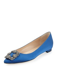 Manolo Blahnik Hangisi Crystal Buckle Satin Flat Blue
