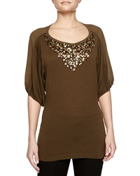 Escada Cashmere Blend Jeweled Top Small