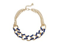 Guess Faux Leather Links Collar Necklace Gold Dark Blue Necklace