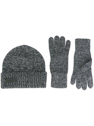Dsquared2 Ribbed Hat And Gloves Set Grey
