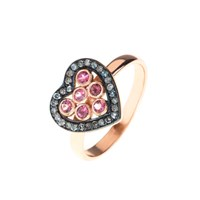 Latelita London Diamond Heart Pink Tourmaline Ring Black Rose Gold Pink