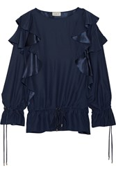 Lanvin Ruffled Silk Satin Backed Crepe Blouse Midnight Blue