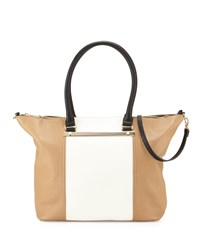 Neiman Marcus Sybil Bar Colorblock Tote Bag White Vachetta