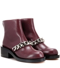 Givenchy Embellished Embossed Leather Boots Brown