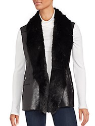 Saks Fifth Avenue Faux Fur Trimmed Open Front Vest Black
