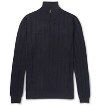 Dunhill Herringbone Cashmere Wool And Silk Blend Half Zip Sweater Navy