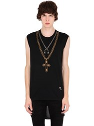 John Richmond Headphone And Cross Effect Cotton Tank Top