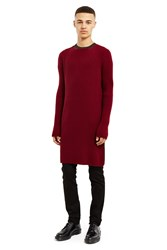 Yang Li Long Knit Top Dark Red