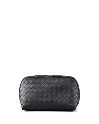 Woven Leather Medium Cosmetic Case Black Bottega Veneta