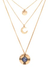 Forever 21 Layered Moon Pendant Necklace