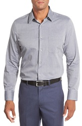 John W. Nordstrom Regular Fit Dobby Print Herringbone Sport Shirt Grey Dawn Herringbone Print