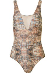 Brigitte Abstract Print Panelled Swimsuit Brown