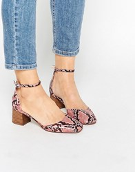 Asos Out Now Heeled Shoes Pink Snake