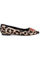Giambattista Valli Cavlin Embellished Leopard Print Calf Hair Point Toe Flats Animal Print